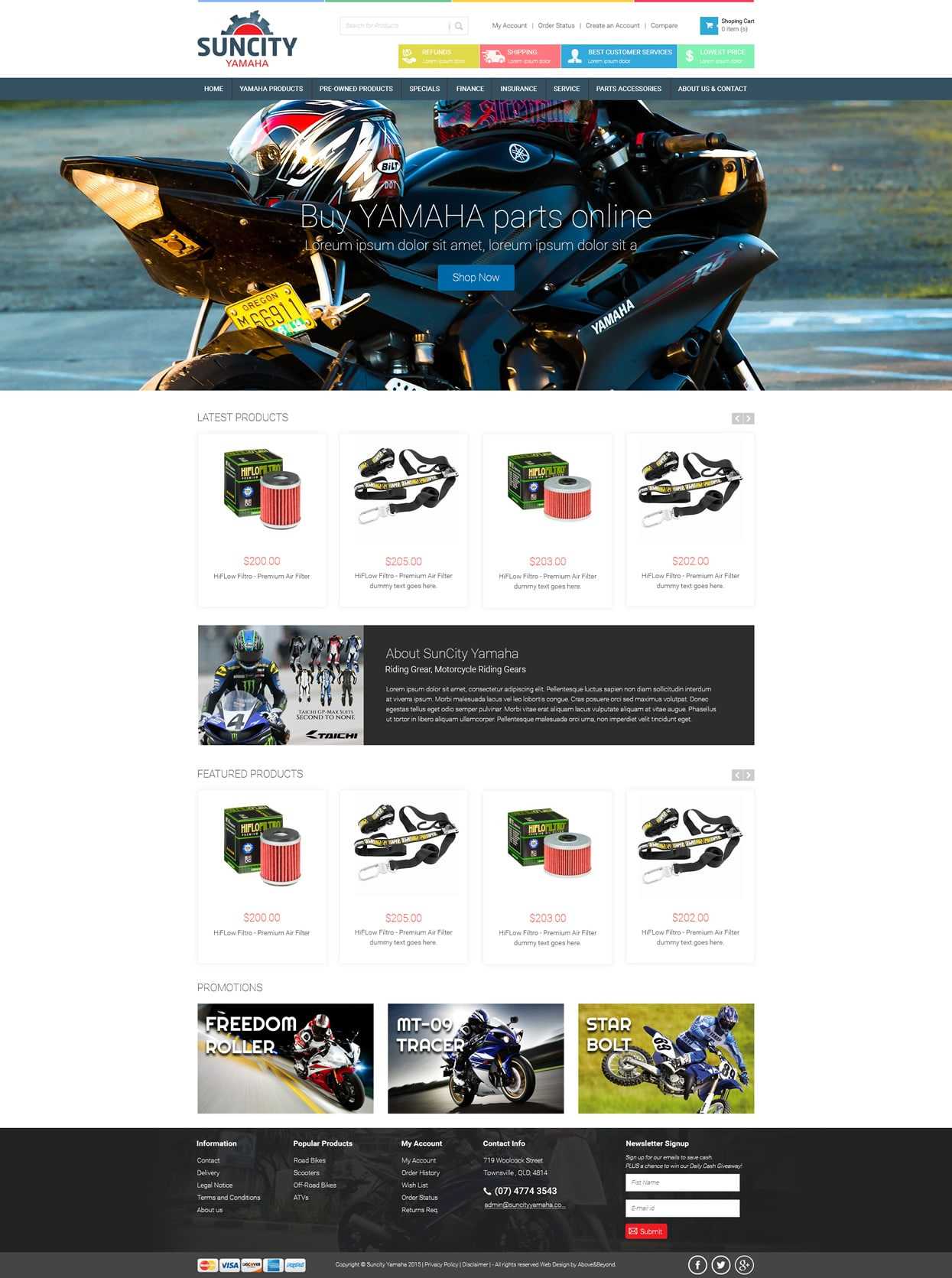 SunCity Yamaha Website design