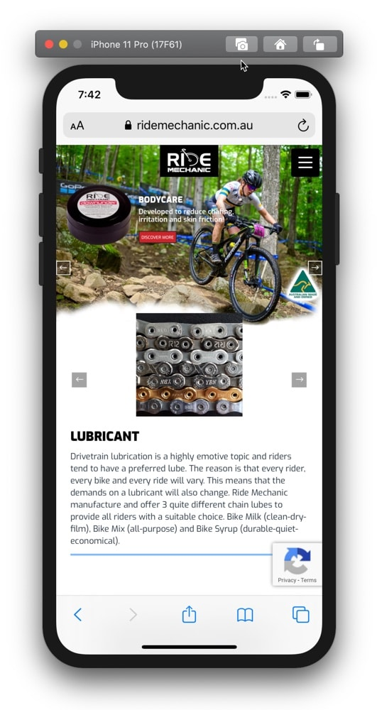 Ride Mechanic Web Design Home Page Mobile